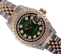 Rolex Rolex Lady Datejust 2 Tone-Diamond Lug-Green String Diam Dial 26mm
