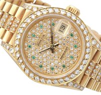 Rolex ROLEX LADY DATEJUST PRESIDENT 6917 18K YELLOW GOLD W DIAMOND & EMERALD