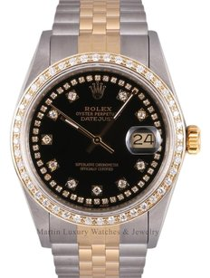 Rolex Rolex Men Datejust 2 Tone 18k -Black String Diamond Dial-Diamond Bezel