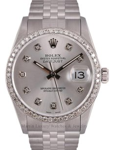 Rolex Rolex Men Datejust Stainless Steel 36mm-Silver Dial-Diamond Dial & Bez