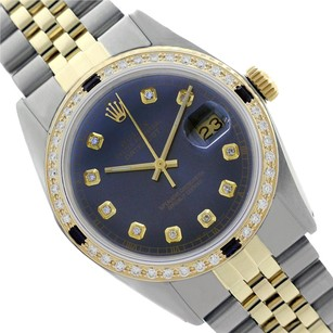 Rolex Rolex Men's Datejust 16013 Blue Dial Sapphire Diamond Bezel 36mm Watch