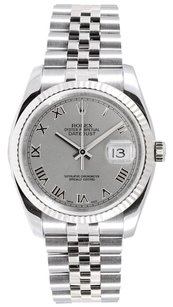Rolex Rolex Men's Datejust Rhodium Roman Dial Jubilee Band White Gold Fluted Bezel Watch 116234