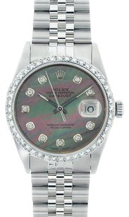 Rolex Rolex Men's DateJust Stainless Steel Black Mop Diamond Watch 16014