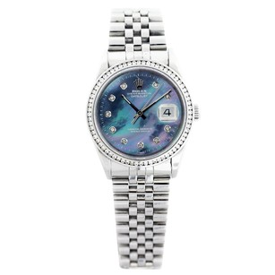 Rolex Rolex Men's DateJust Stainless Steel Blue Mop Diamond Watch 16014