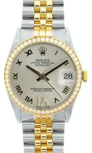 Rolex Rolex Men's DateJust Two-Tone Silver Roman Diamond Watch 16013