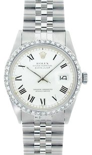Rolex Rolex Men's DateJust White Roman Dial Diamond Bezel Watch 16014