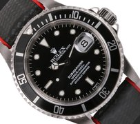 Rolex Rolex Men Submariner 16800 40mm-Black Alligator Leather/Red Bracelet-