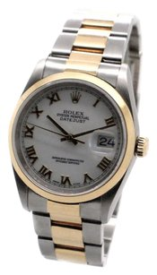 Rolex Rolex Datejust 16203 18K Yellow Gold and Steel White Roman Dial Men's Watch