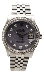 Rolex Rolex Datejust 16030 Stainless Steel Custom Diamond MOP Dial Men's Watch