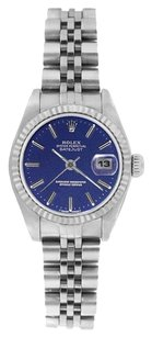 Rolex ROLEX Oyster Perpetual DateJust Blue Dial Stainless Steel Watch 69174