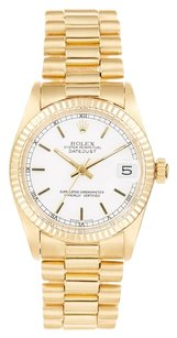 Rolex Rolex Datejust 18K Yellow Gold White Dial Unisex Presidential Watch