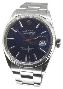 Rolex Rolex Oyster Perpetual DateJust Stainless Steel Blue Stick Dial Watch 16014
