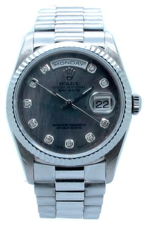 Rolex ROLEX DAY-DATE 18K WHITE GOLD CUSTOM DIAMOND MEN'S PRESIDENTIAL WATCH