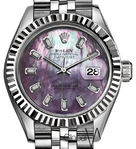 Rolex Rolex Purple Natural Pearl 31MM Medium Diamond Baguettes 18k SS Watch