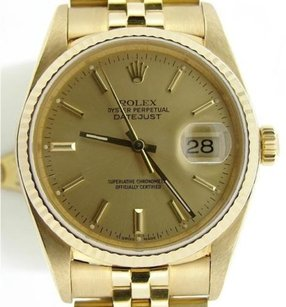 Rolex Rolex Solid 18k Yellow Gold Datejust Wjubilee Bracelet Champagne Dial 16238