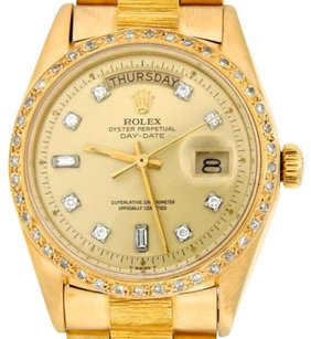 Rolex Rolex Solid 18k Yellow Gold Day Date President Bark Diamond Dial Bezel 1803