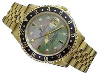 Rolex Rolex Solid 18k Yellow Gold Gmt-master Watch Black Tahitian Mop Diamond 16758