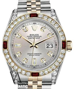 Rolex Rolex Stainless Steel & Gold 36mm Datejust Silver Dial Ruby Diamond