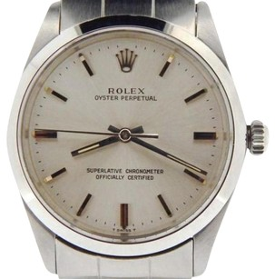 Rolex Rolex Stainless Steel Oyster Perpetual Watch Woyster Band Silver Dial 1002
