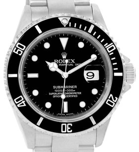 Rolex Rolex Submariner Steel Black Dial Mens Watch 16610 Box Papers