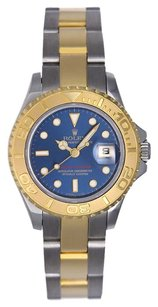 Rolex ROLEX Two-Tone Blue Dial Midsize Yachtmaster Watch 16168623