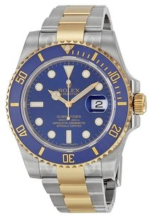 Rolex Rolex Two Tone Blue Submariner Watch 16613
