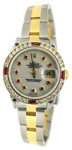 Rolex Rolex Two-Tone Ladies DateJust Customized Ruby Diamond Bezel Mother of Pearl Diamond Dial.