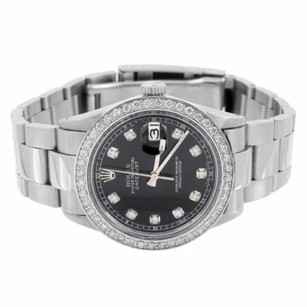 Rolex Date Just I Rolex Watch Stainless Steel Oyster Band 2.15 Ct Diamond Black Dial