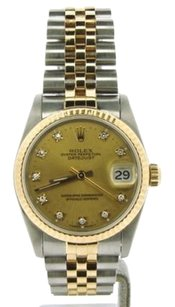 Rolex Mid-size Rolex Datejust 2tone 18k Goldstainless Steel Wfactory Diamond Dial
