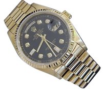 Rolex Mens Rolex Day-date President 18k Yellow Gold Watch Wblack Diamond Dial 18038