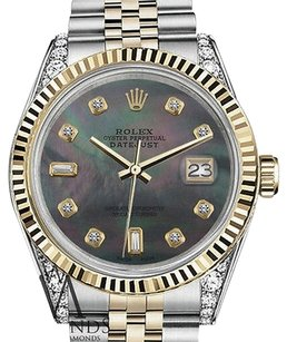 Rolex Mens Rolex 36mm Datejust Tone Black Mop Mother Of Pearl With 8+2 Diamond