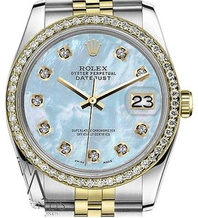 Rolex Ladies Rolex 31mm Datejust Tone Baby Blue Mother Of Pearl Dial With Diamond
