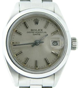 Rolex Rolex Date Ladies Stainless Steel Watch Oyster Domed Bezel Silver Dial 6916