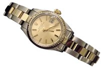 Rolex Rolex Date Ladies 2tone 14k Yellow Gold Steel Watch Oyster Champagne Dial 6917