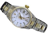 Rolex Vintage Rolex Date Lady 2tone 14k Gold Steel Watch Oyster Band White Roman 6517