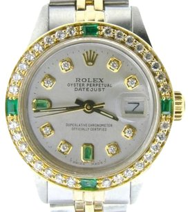 Rolex Rolex Datejust Ladies 14k Yellow Gold Steel Watch Silver Diamond Emerald 6917