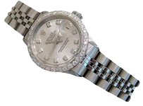 Rolex Vintage Rolex Datejust Lady Stainless Steel Watch Silver Diamond Dial 1ct Bezel