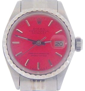 Rolex Rolex Datejust Lady Stainless Steel Watch Oval Link Jubilee Band Pink Dial 6916