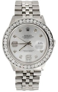 Rolex Mens 16014 Rolex Datejust 36mm Channel Set Diamond Watch Shiny Silver Dial Ct.