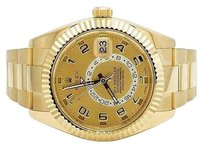 Rolex Mens 18k Yellow Gold 326938 Rolex Champagne Dial Sky Dweller 42mm