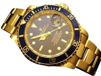 Rolex Rolex Submariner Date Solid 18k Yellow Gold Watch Oyster Band Blue Sub 16618