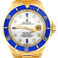 Rolex Rolex Submariner Solid 18k Yellow Gold Watch Mop Diamond Serti Blue Sapphire Sub