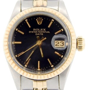 Rolex Rolex Date Ladies 2tone 14k Yellow Gold Stainless Steel Watch Black Dial 6917