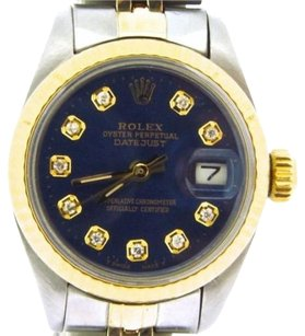 Rolex Rolex Datejust Lady 2tone 14k Gold Stainless Steel Blue Diamond Dial Watch 6917