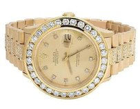 Rolex 18k Solid Yellow Gold Mens Rolex Datejust Presidential Band With Diamond Bezel