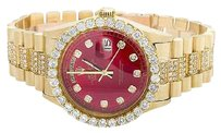 Rolex 18k Mens Yellow Gold Rolex President Day-date 36mm Red Dial Diamond Watch Ct