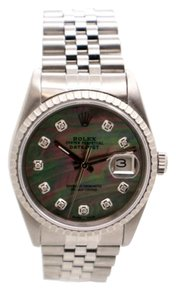 Rolex Rolex Datejust 16220 Stainless Steel Black MOP Diamond Dial Men's Watch.