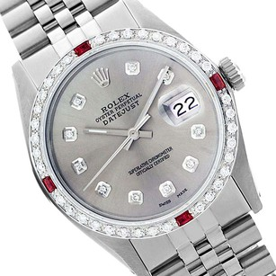 Rolex Rolex Men's Datejust 16014 Silver Dial Ruby and Diamond Bezel Watch