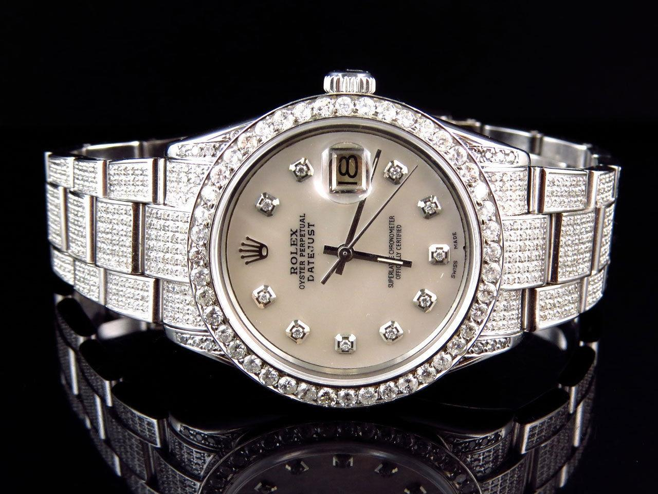 Rolex Stainless Steel Datejust Oyster Diamond Watch with 95 Ct