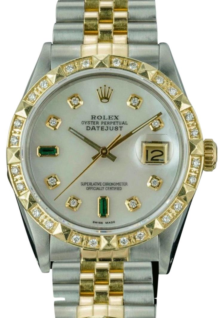 Rolex Rolex Men's Datejust 16013 18K Gold 36mm MOP with Emerald ...